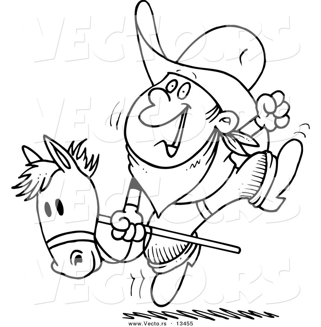 vector of a cartoon boy riding a stick pony coloring page