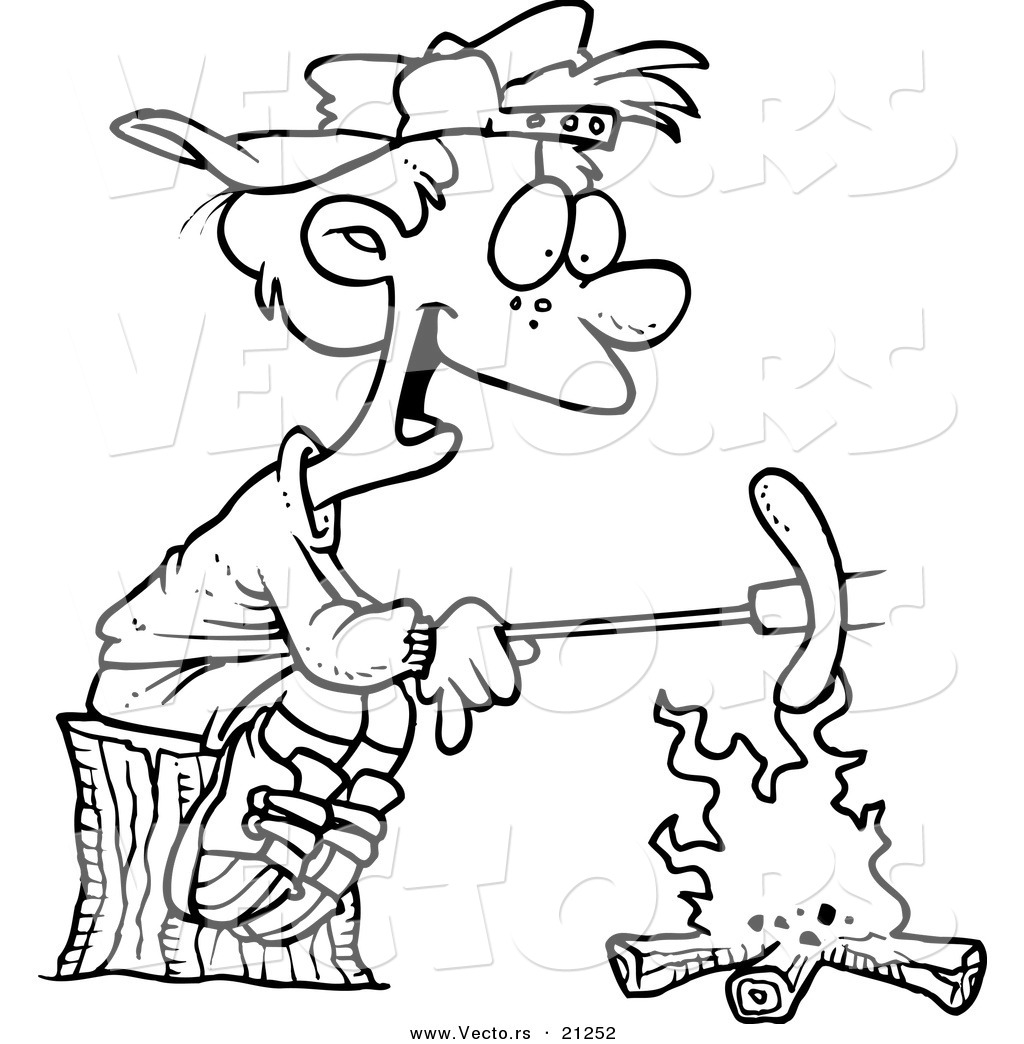 Campfire Coloring Page Vector Of A Cartoon Boy Roasting A Weenie Over A Campfire