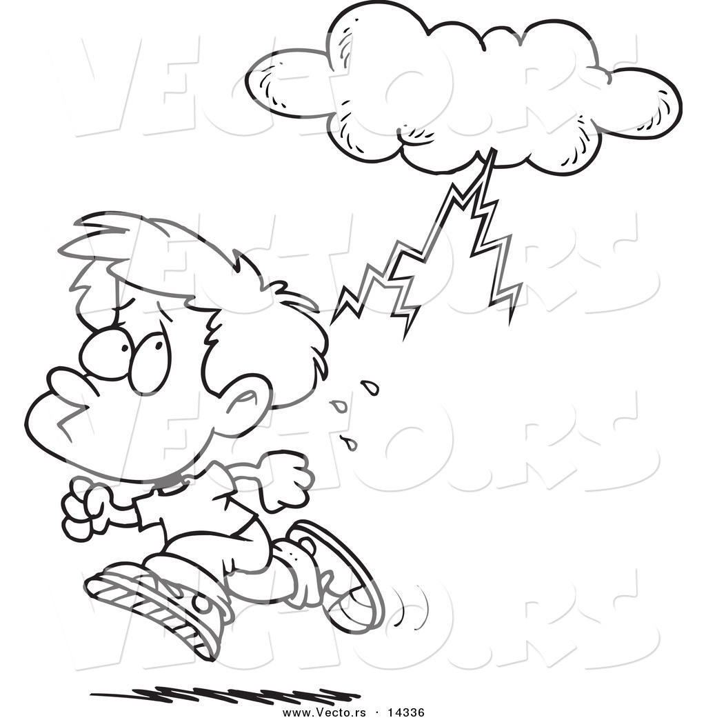 Vector Of A Cartoon Boy Running From Lightning