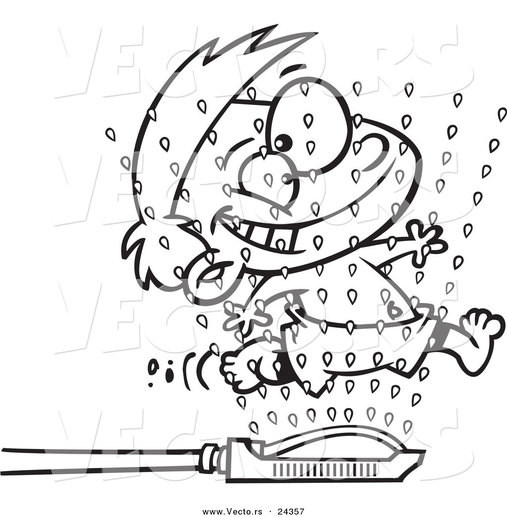 vector of a cartoon boy running through sprinklers outlined