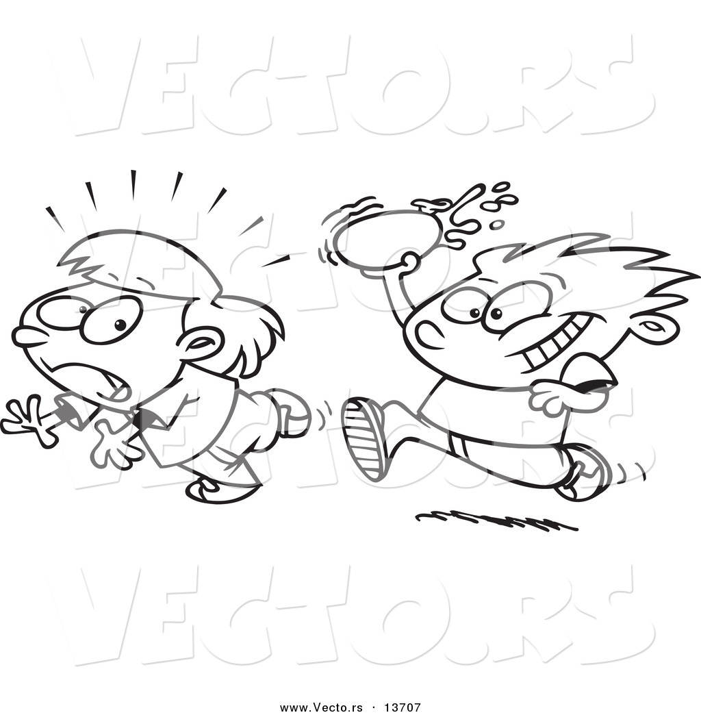 vector of a cartoon boy throwing water balloons coloring page outline