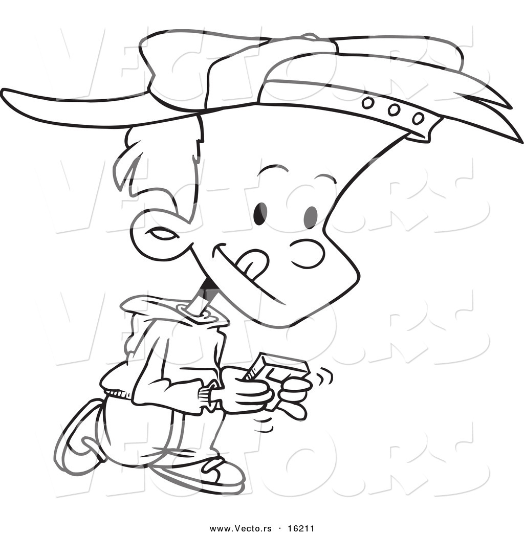 vector of a cartoon boy walking and playing a video game outlined coloring page drawing - Cartoon Kid Drawing