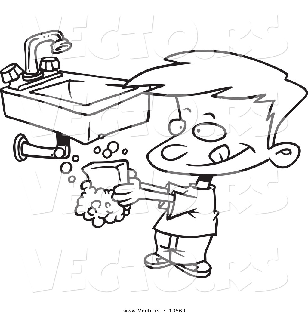 Vector of a Cartoon Boy Washing His Hands with Soap - Coloring ...