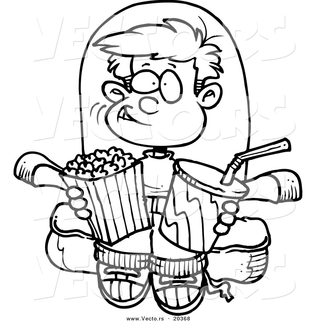vector of a cartoon boy with movie snacks coloring page outline