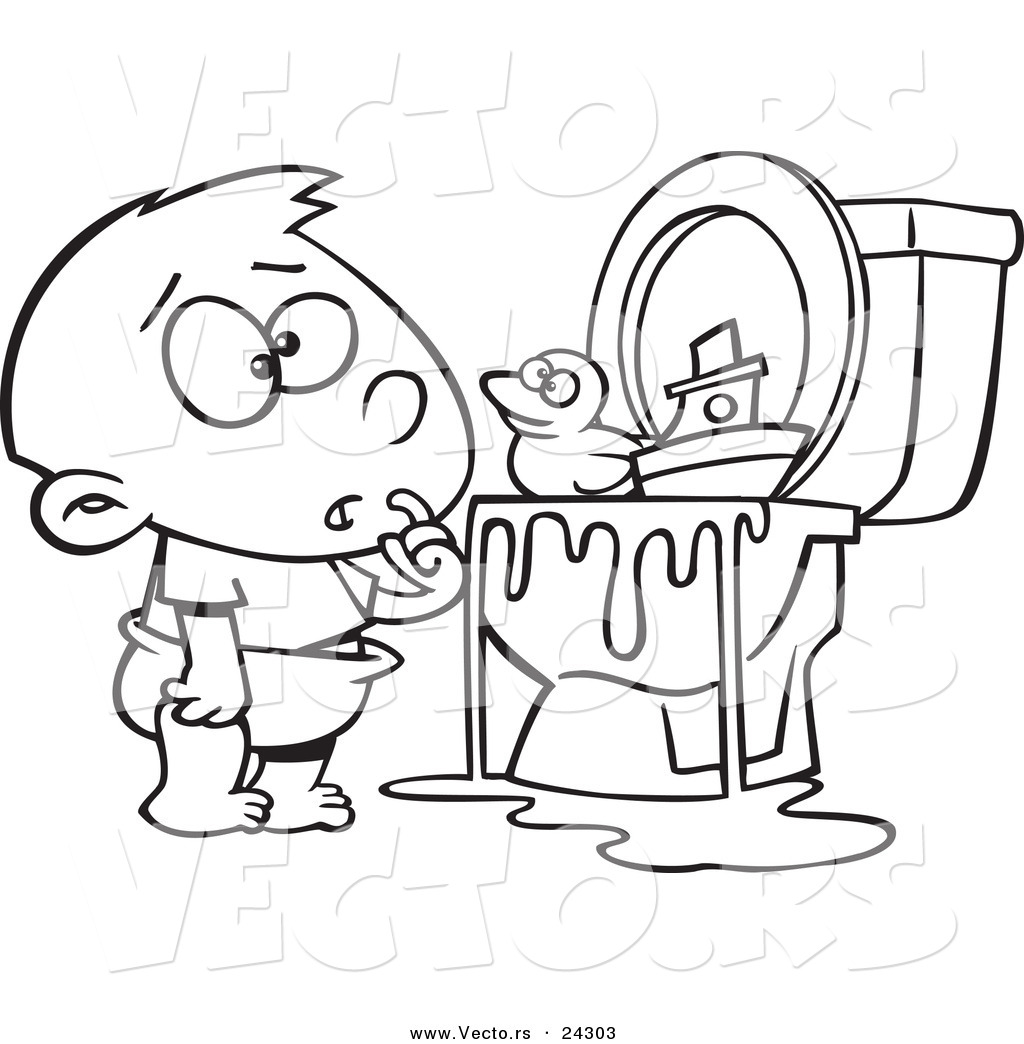 Baby toys colouring pages page 3 - Vector Of A Cartoon Boy With Toys In The Toilet Black And White Outline Outlined