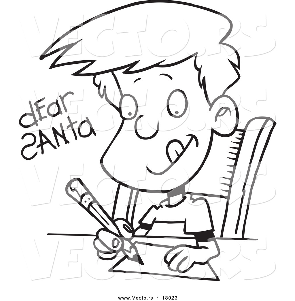 vector of a cartoon boy writing a dear santa letter outlined coloring page