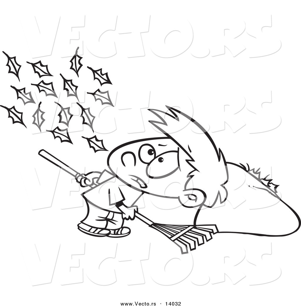 vector of a cartoon breeze blowing more leaves on the ground for a