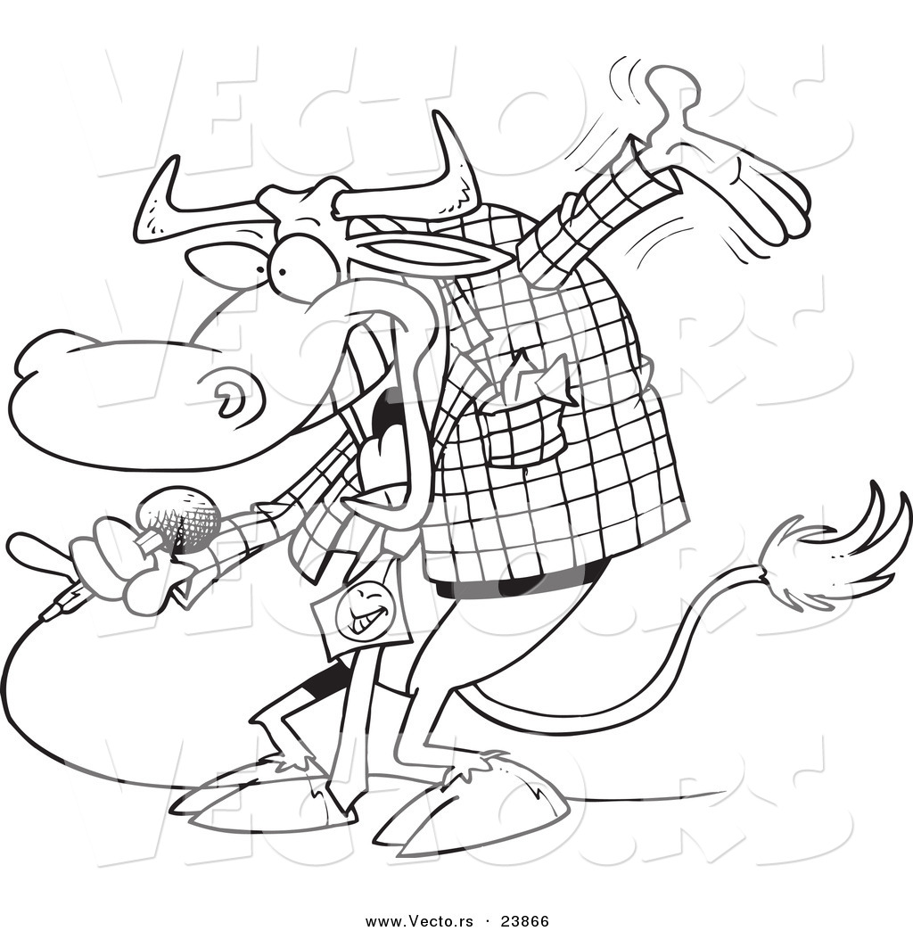 vector of a cartoon bull host coloring page outline by toonaday