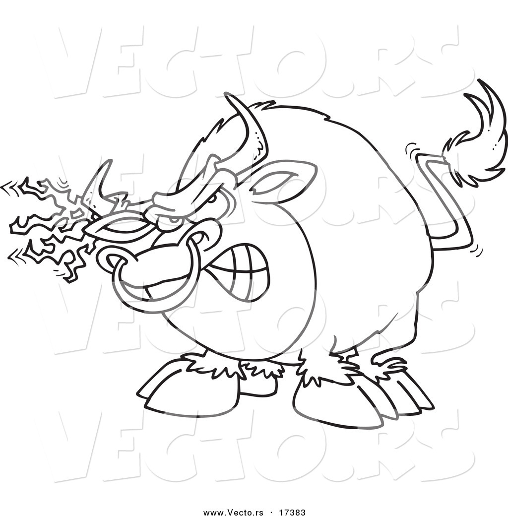 vector of a cartoon bull with torn fabric on his horn coloring