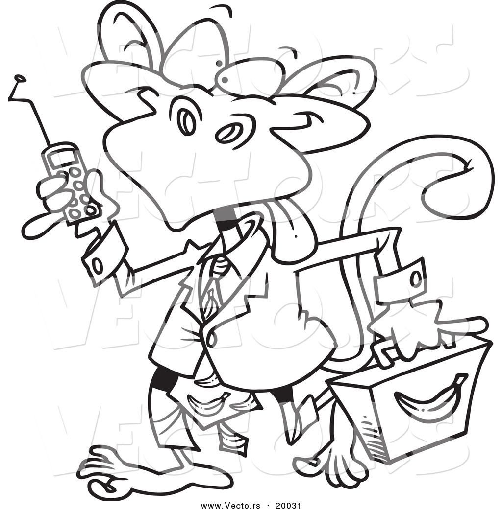 vector of a cartoon business monkey outlined coloring page by