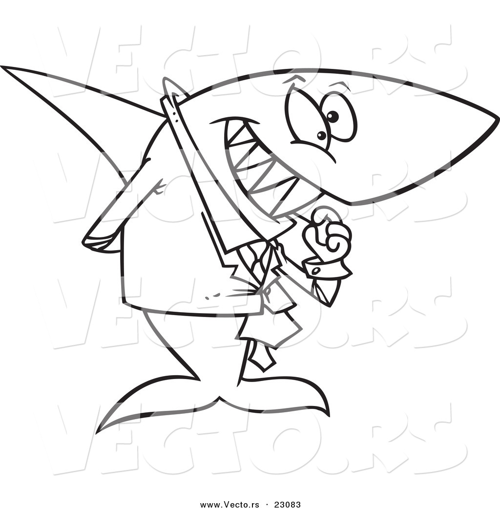 vector of a cartoon business shark picking his teeth coloring