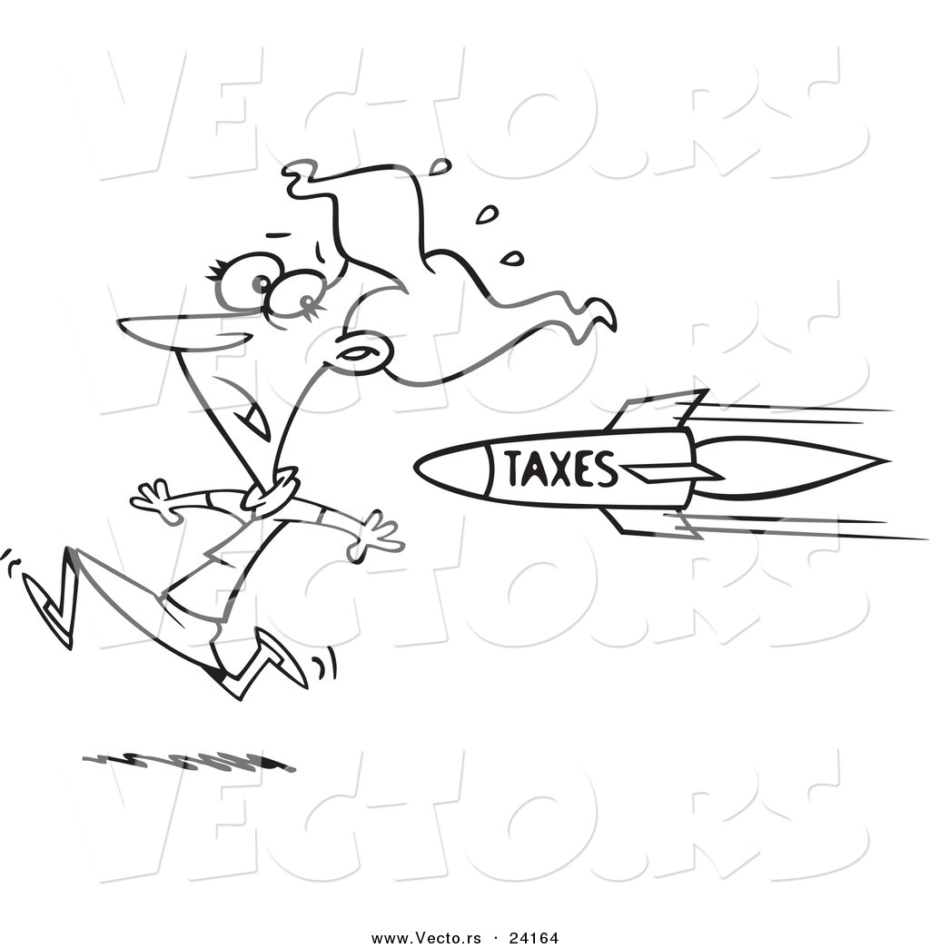 vector of a cartoon business woman running from a tax rocket