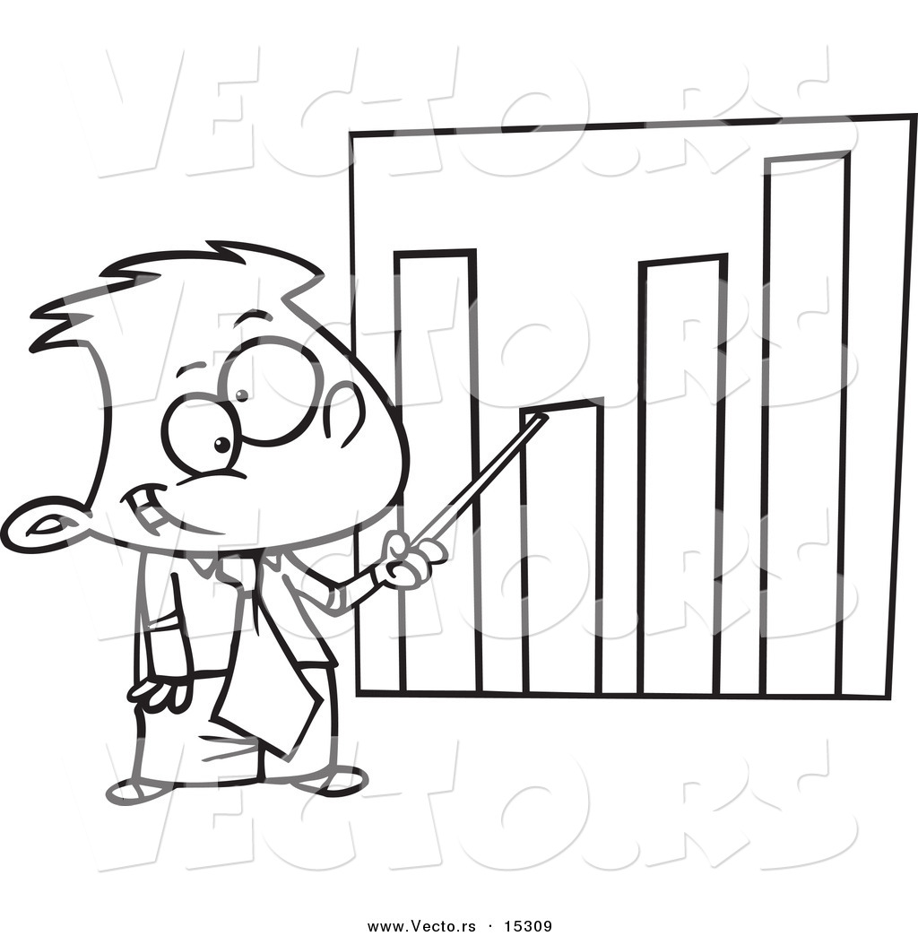 Vector of a Cartoon Businessboy Pointing to a Bar Graph - Coloring ...