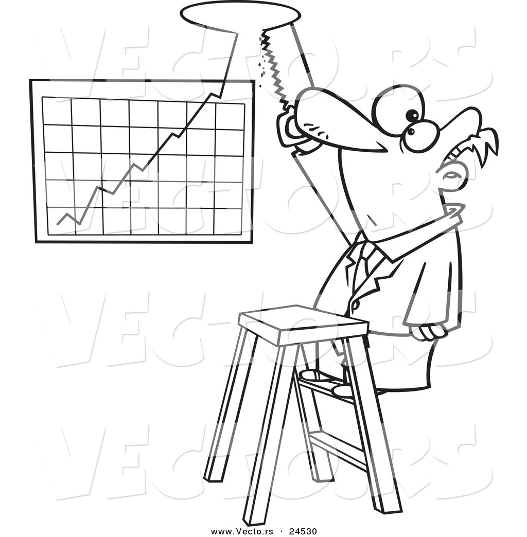Vector Of A Cartoon Businessman Cutting A Hole In The