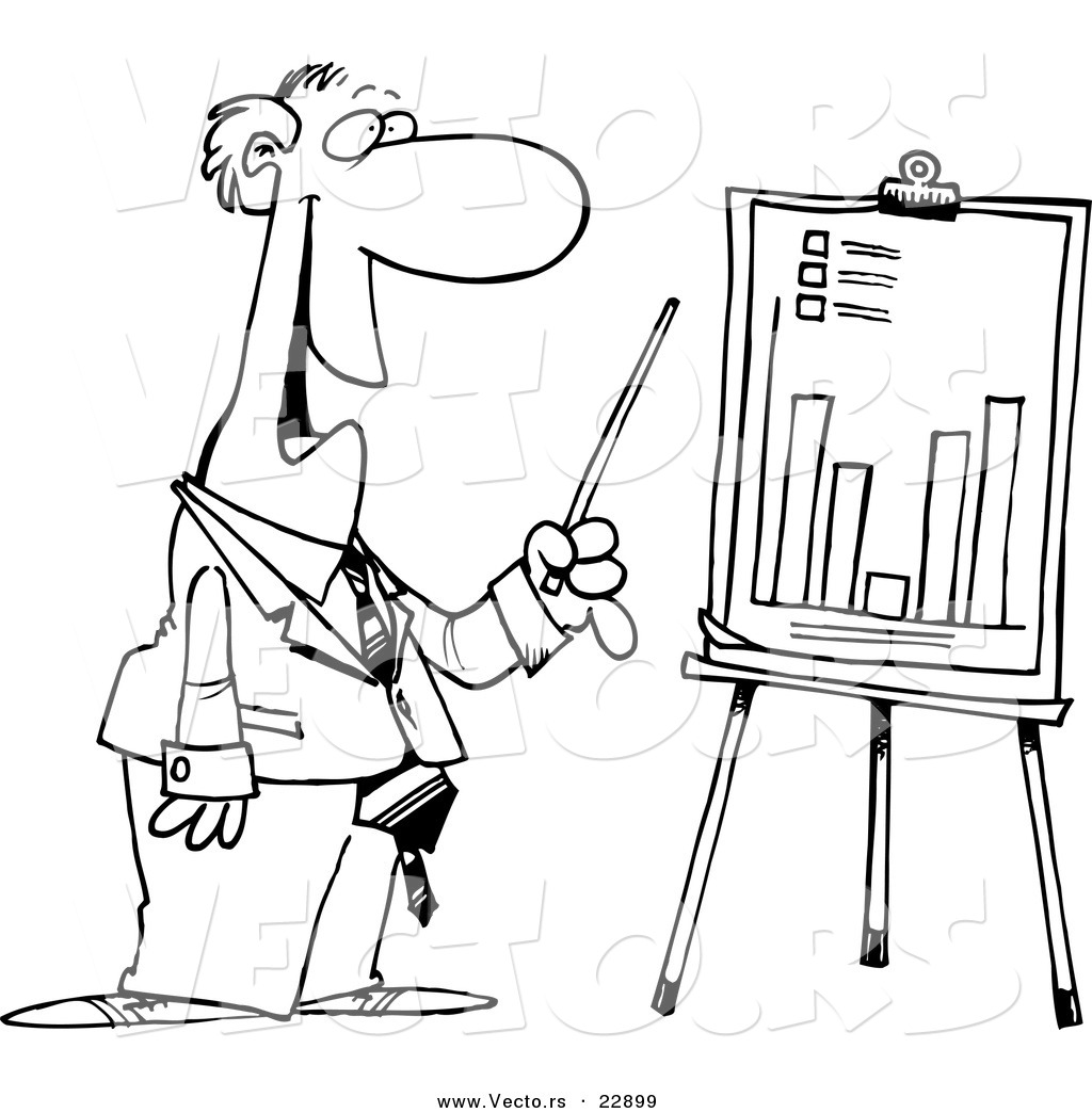 vector of a cartoon businessman discussing a bar graph - coloring page outline by toonaday