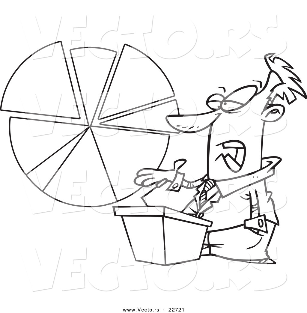 vector of a cartoon businessman discussing a pie chart coloring