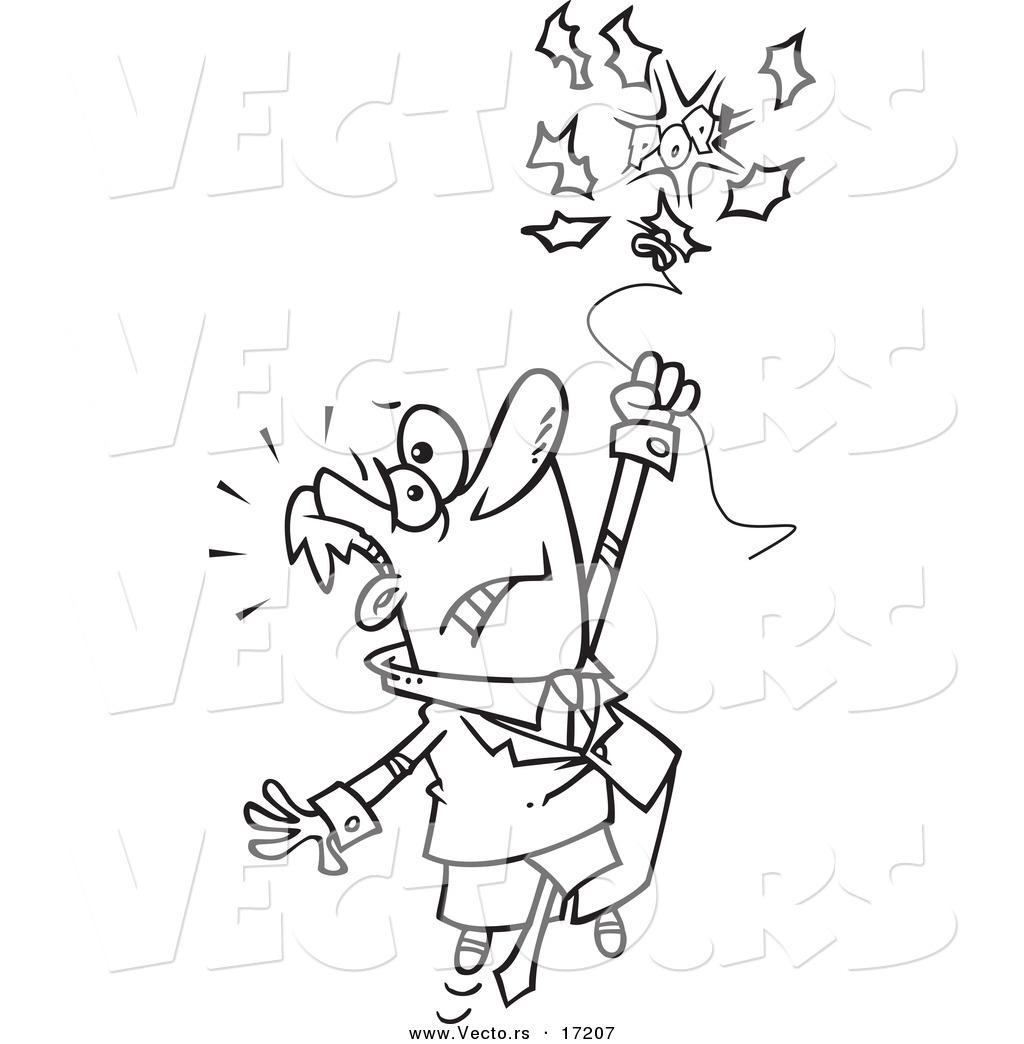 Vector of a Cartoon Businessman Holding onto a Bursting Balloon ...