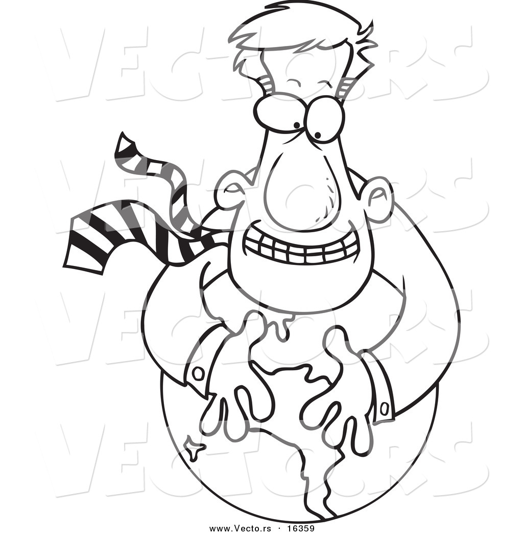 vector of a cartoon businessman hugging a globe outlined coloring page drawing