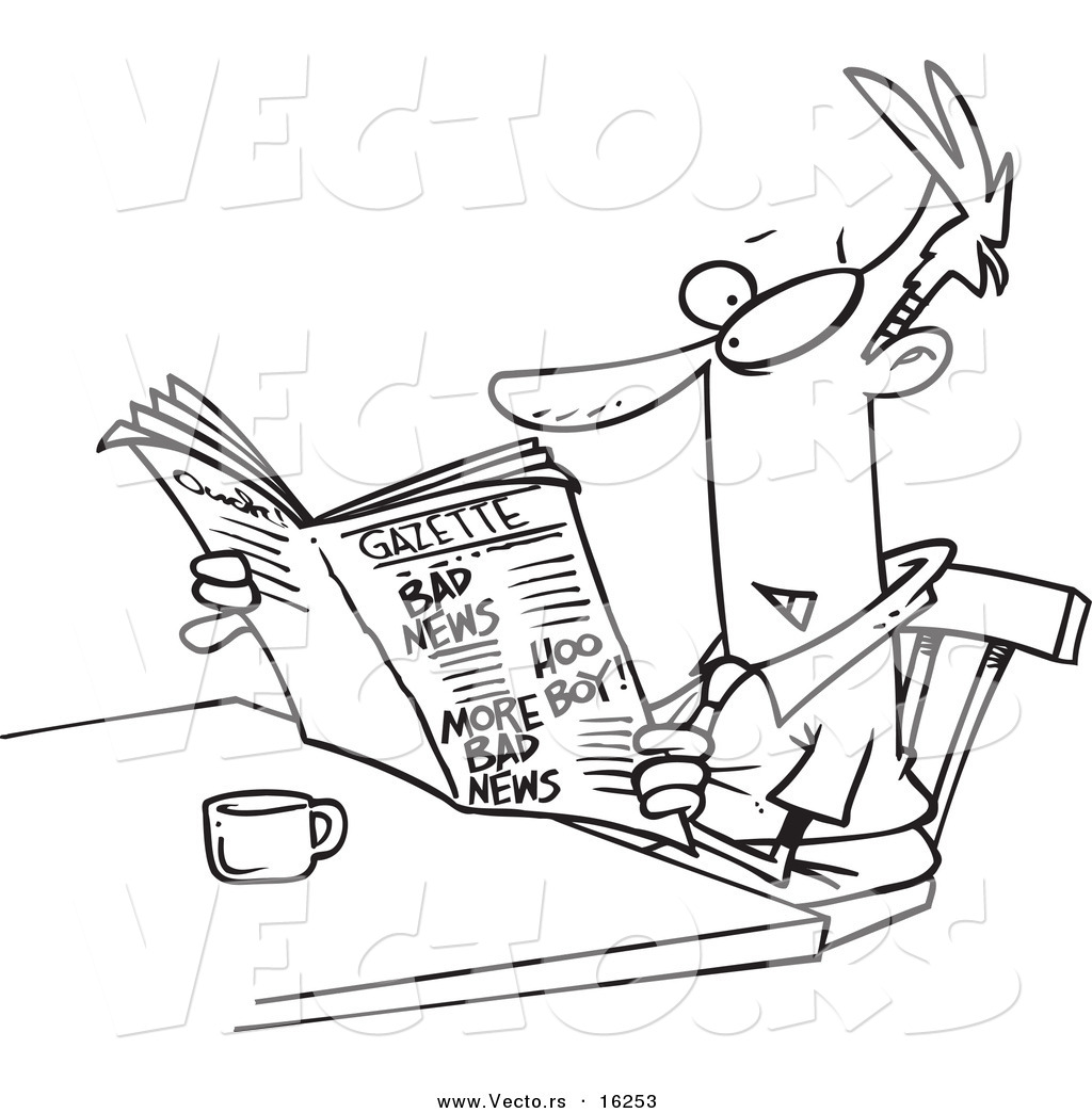 vector of a cartoon businessman reading the gazette outlined