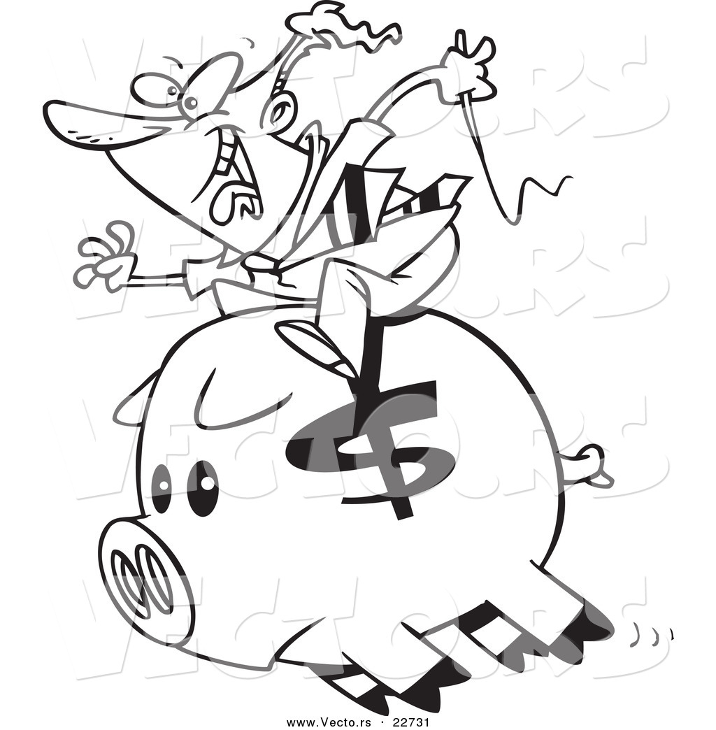 Vector Of A Cartoon Businessman Riding A Piggy Bank Coloring Page Outline By Toonaday 22731