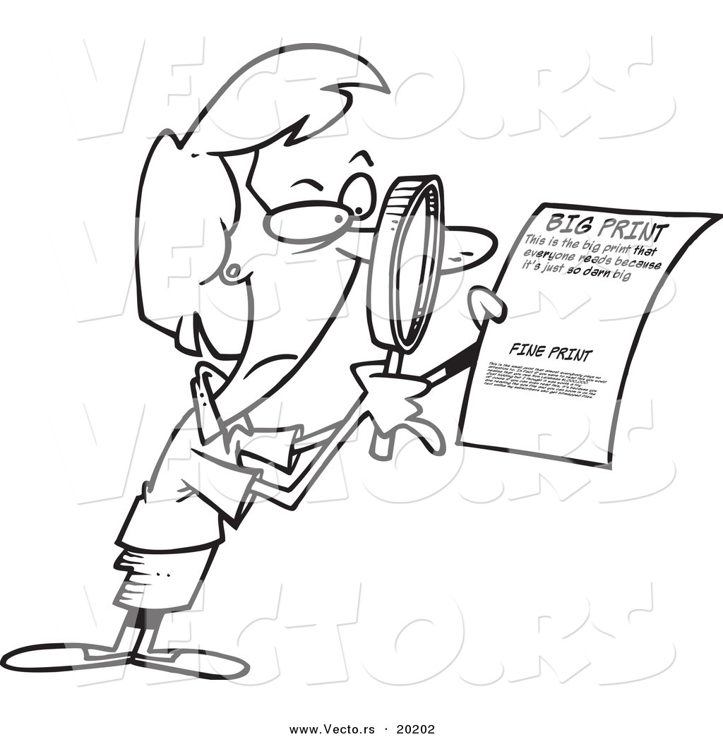 Vector Of A Cartoon Businesswoman Using Magnifying Glass To Read The Fine Print