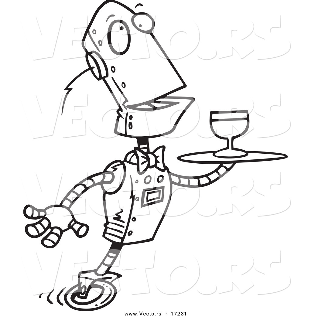 vector of a cartoon butler robot serving wine coloring page