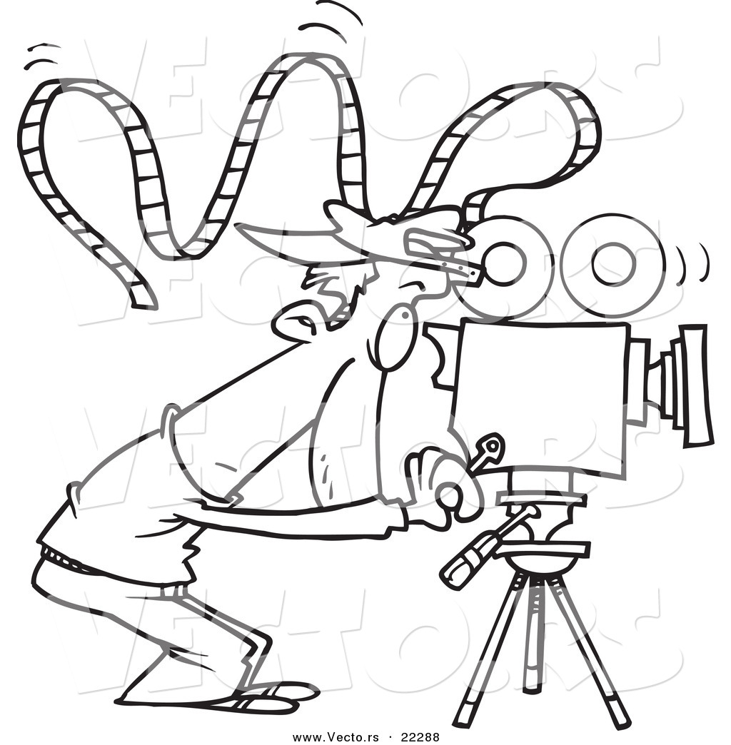 vector of a cartoon camera man with crazy film - coloring page outline by toonaday