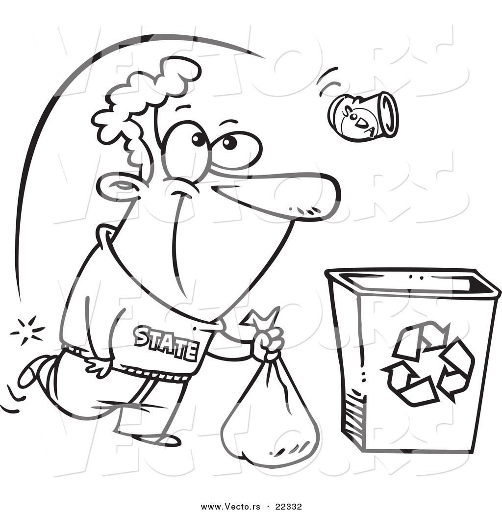 Free printable coloring pages recycling - Vector Of A Cartoon Can Flying Over A Man To A Recycle Bin Coloring Page