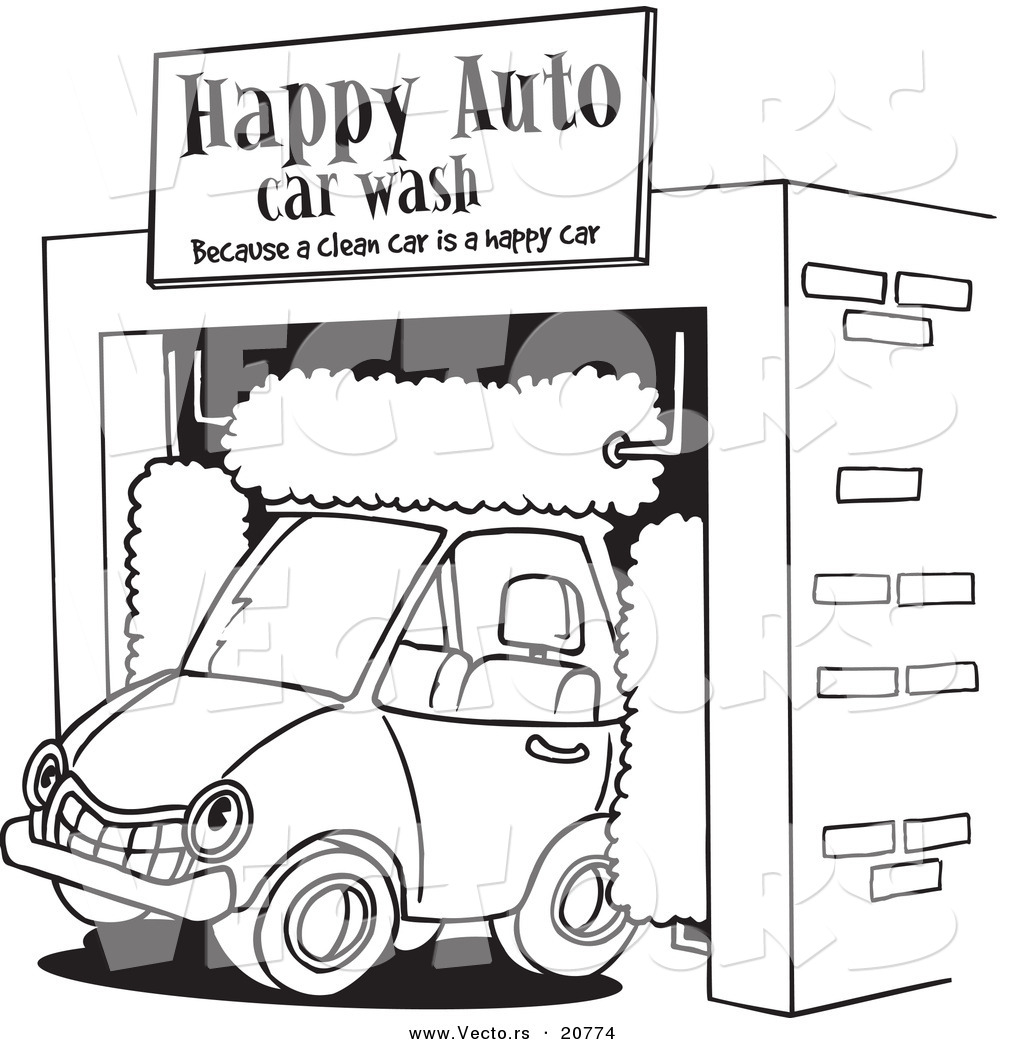 Vector of a Cartoon Car Driving Through an Auto Wash - Coloring Page ...