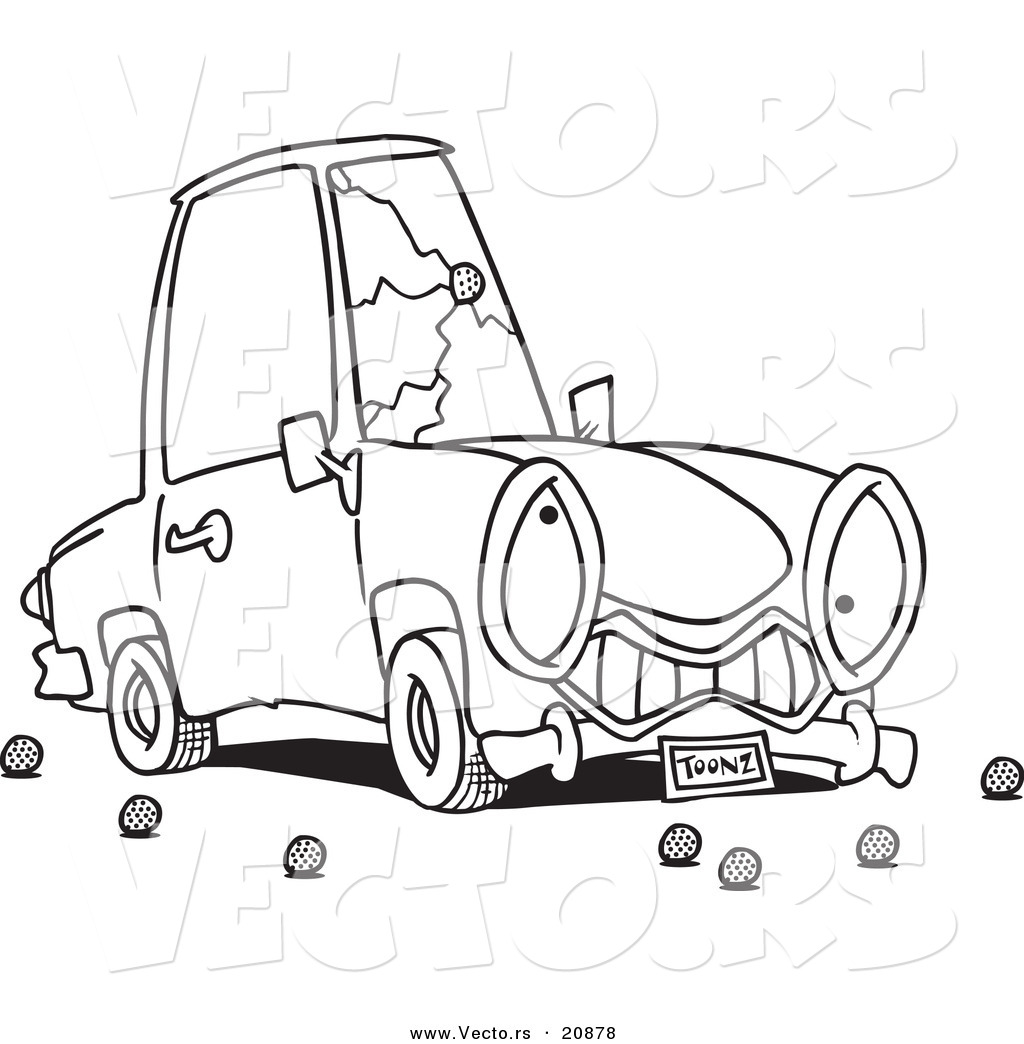 vector of a cartoon car with a cracked windshield coloring page