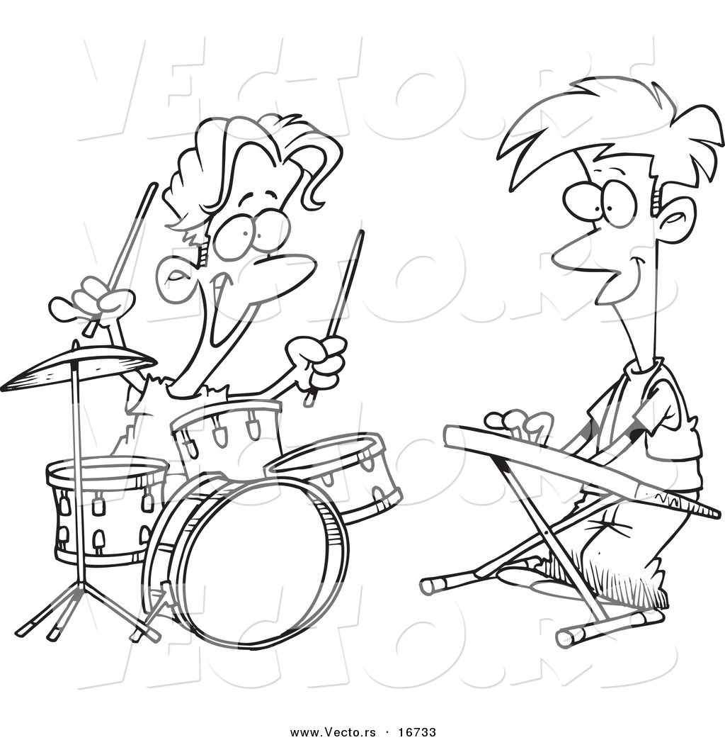vector of a cartoon cartoon black and white outline design of boys