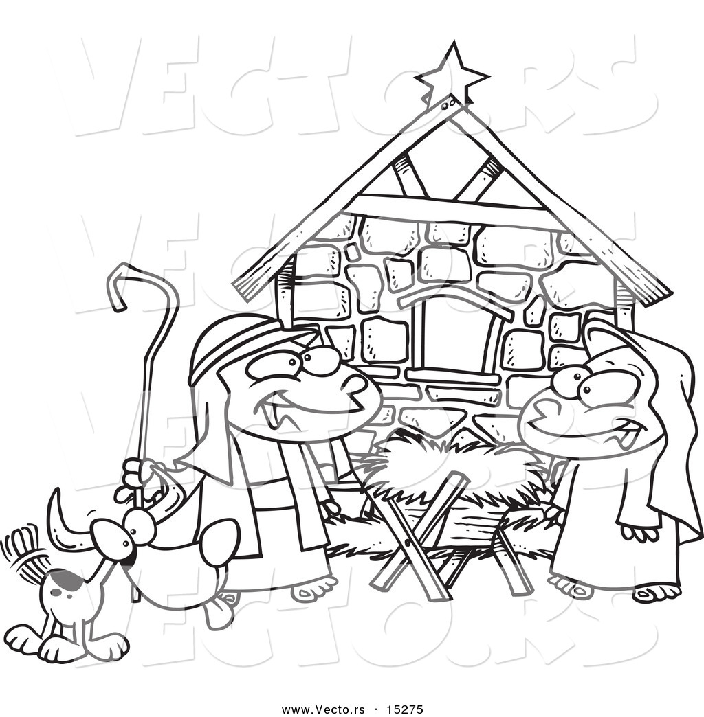 Free coloring pages nativity scene - Colouring Pages Nativity Vector Of A Cartoon Cartoon Black And White Outline Design Of Children