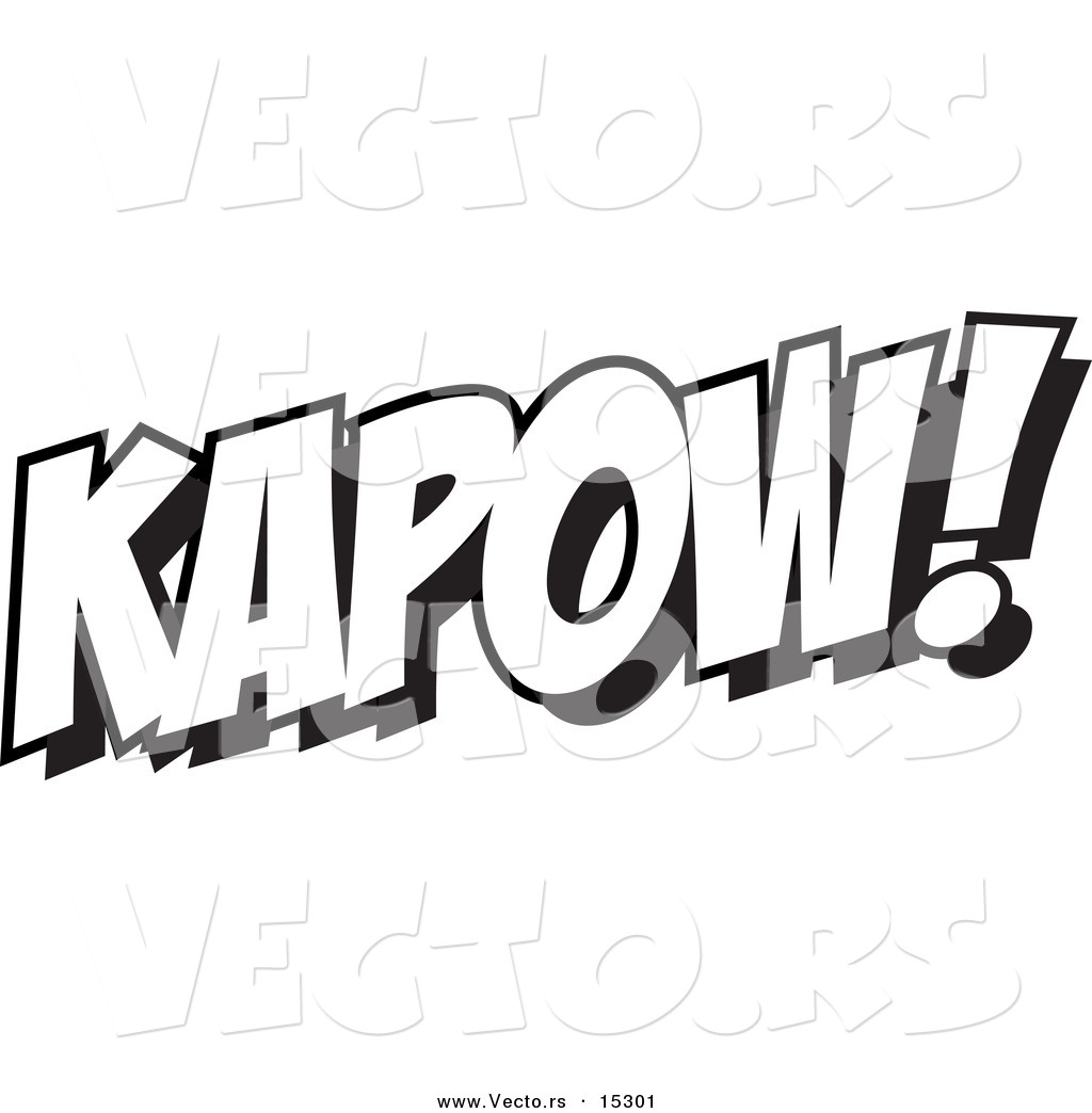 O word coloring pages - Vector Of A Cartoon Cartoon Black And White Outline Design Of Kapow Coloring Page Outline