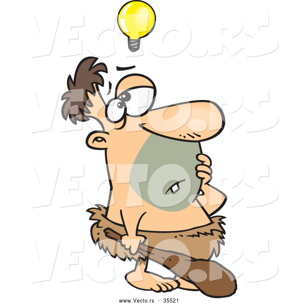 Vector Of A Cartoon Caveman Thinking With Light Bulb Floating Above His Head