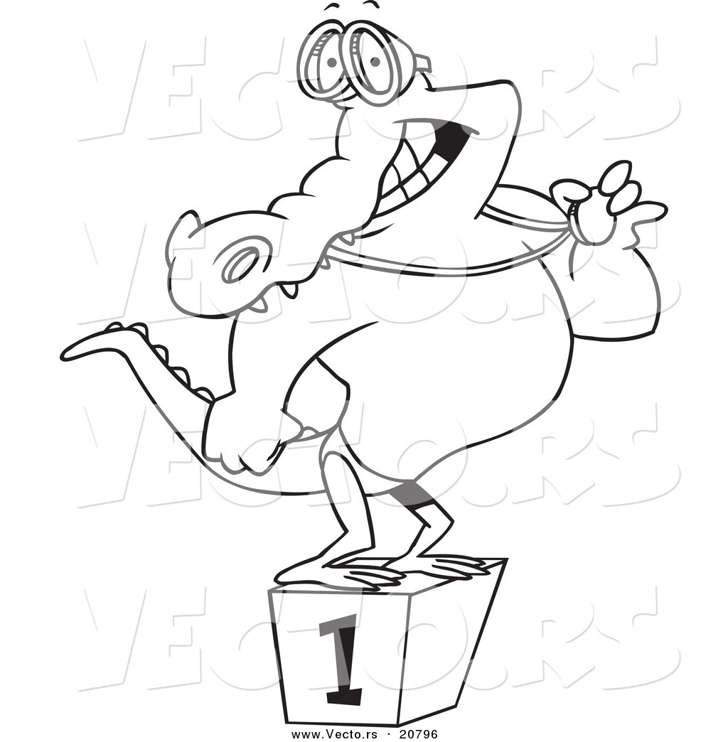 vector of a cartoon champion alligator swimmer coloring page outline