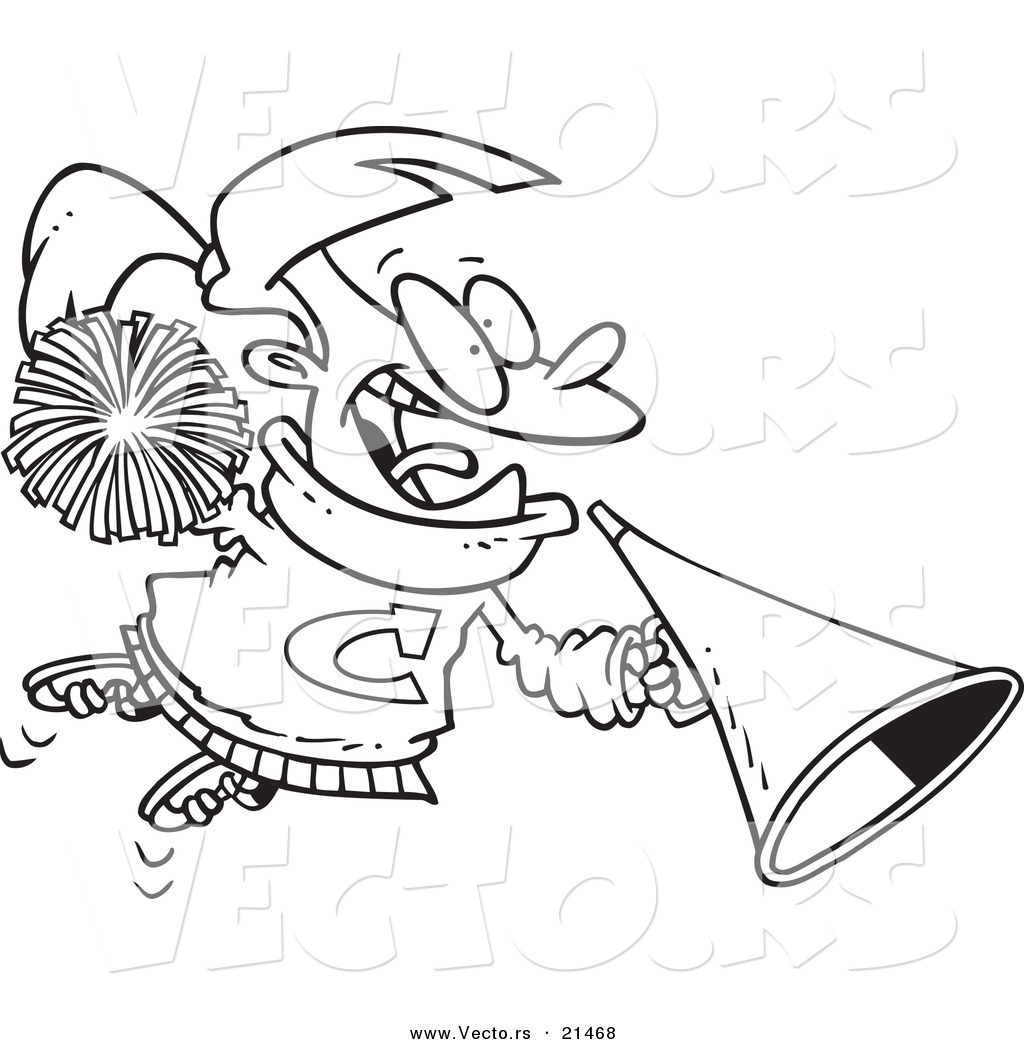 Vector of a cartoon cheerleader girl with a cone outlined coloring page
