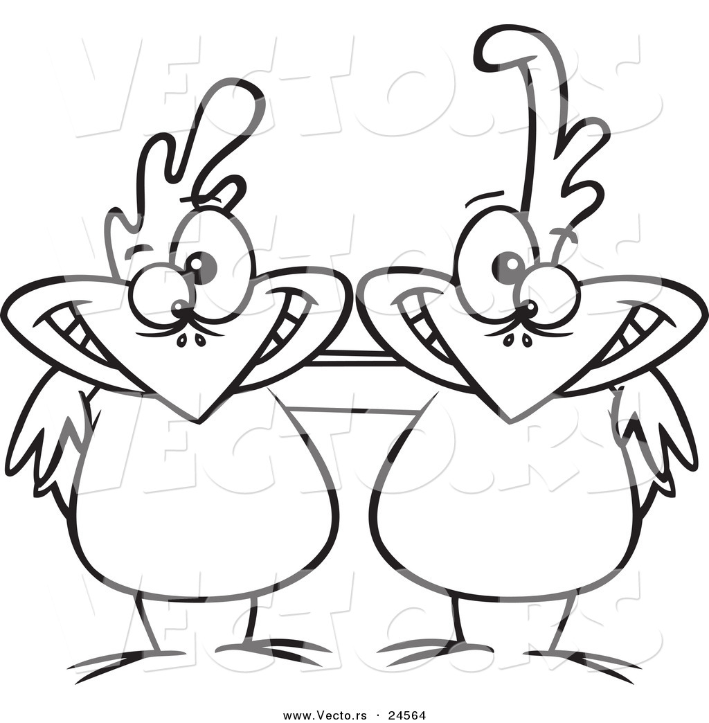 Coloring Pages Vector - Vector of a cartoon chicken buddies outlined coloring page