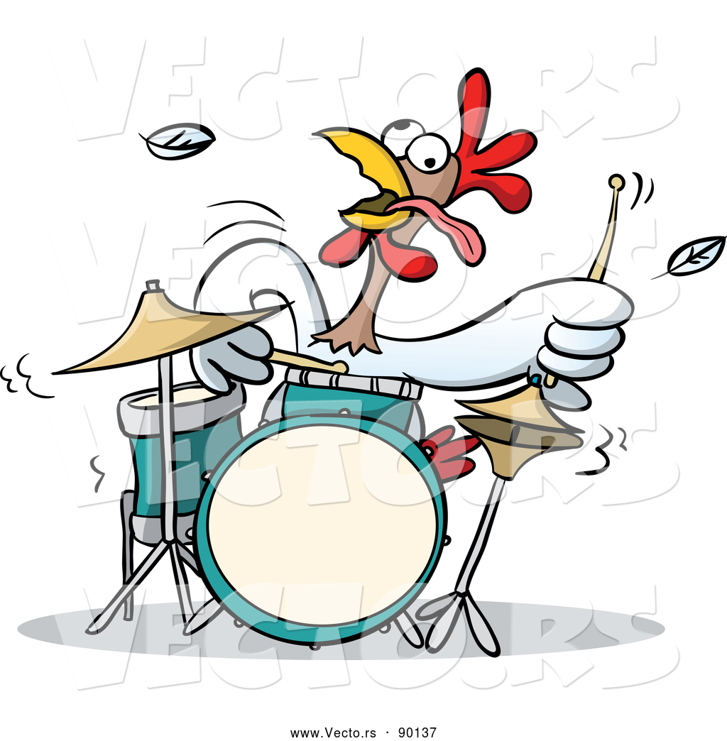 Vector Of A Cartoon Chicken Character Playing Drums Aggressively