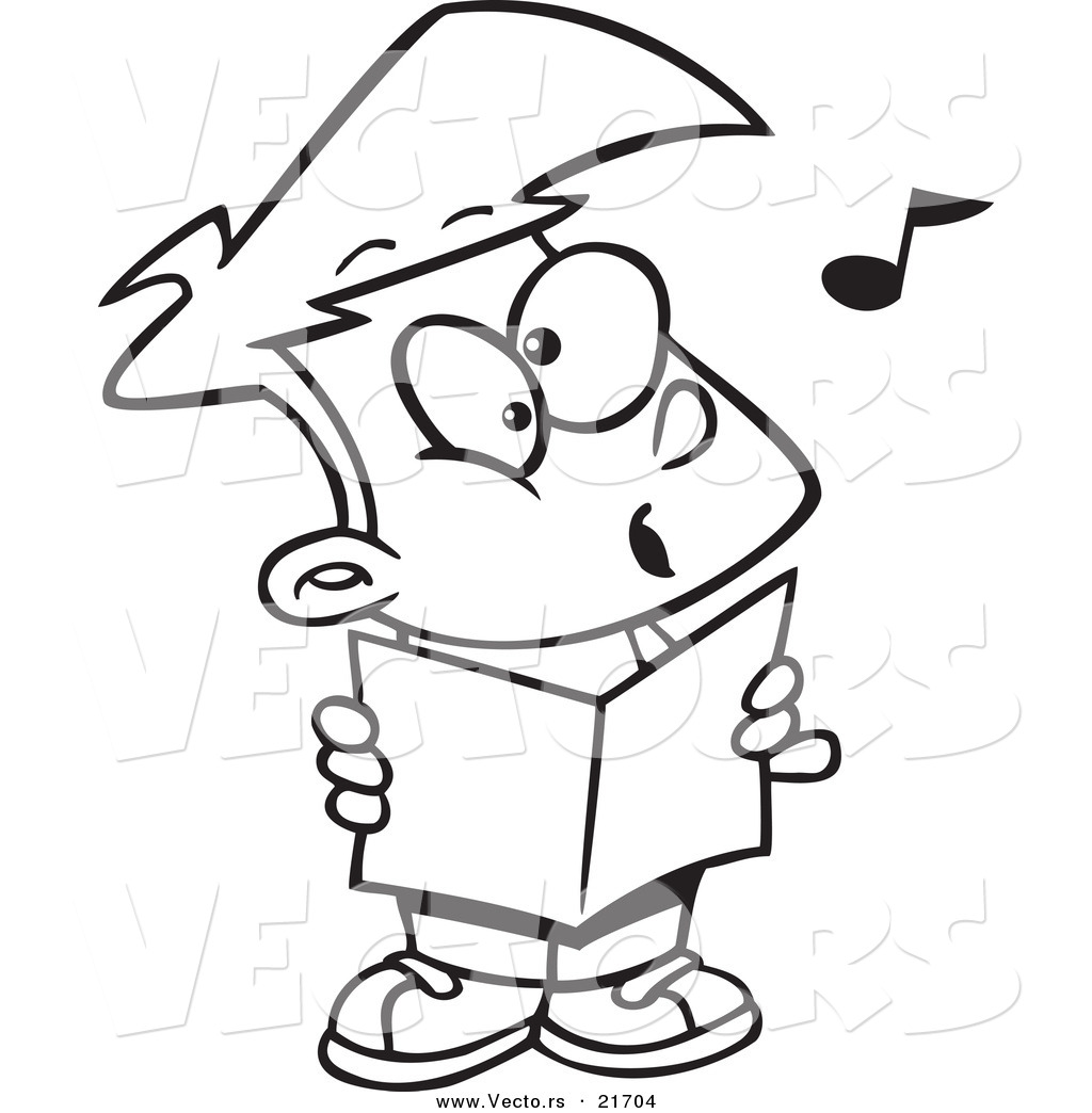 Vector of a Cartoon Choir Boy Singing  Outlined Coloring Page by