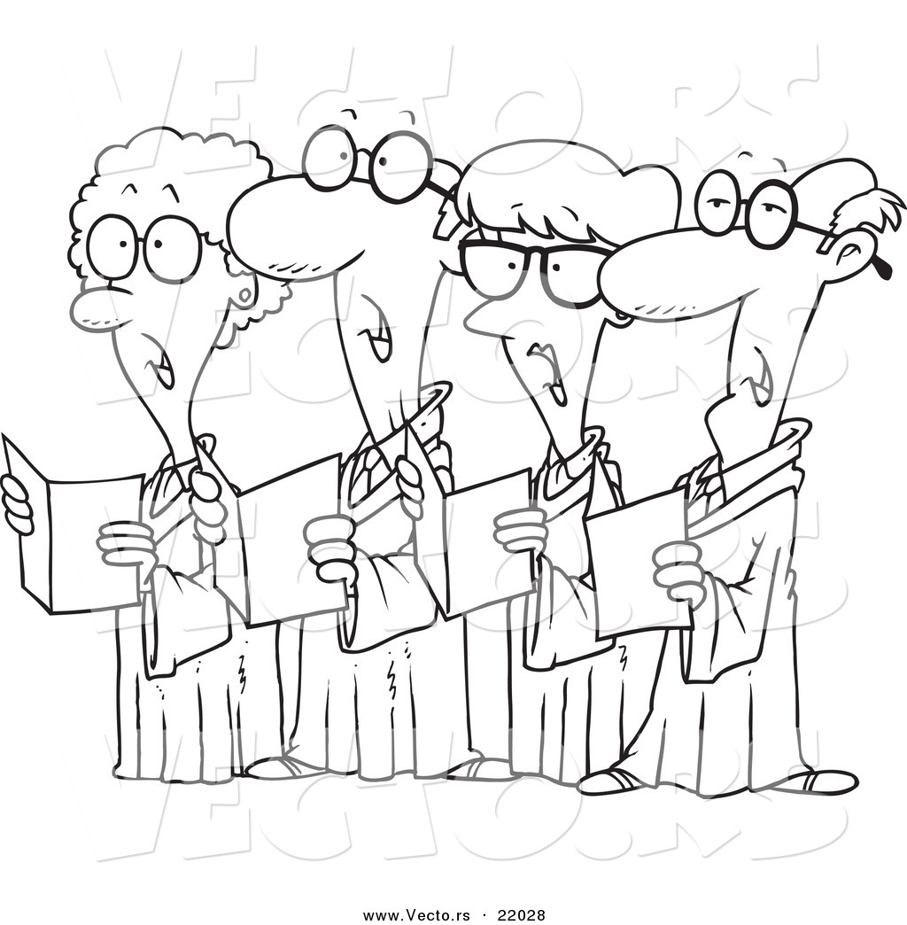Vector of a Cartoon Choir of Seniors - Outlined Coloring ...