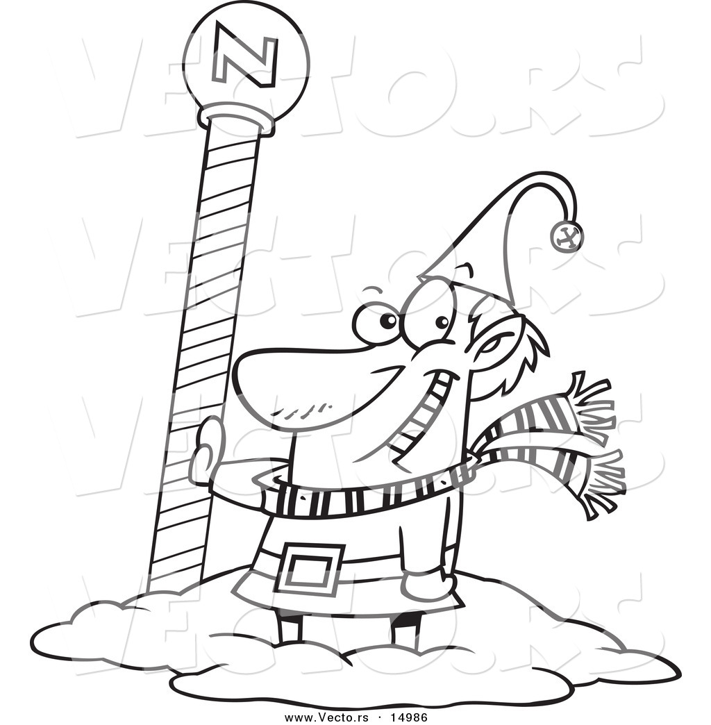 Uncategorized North Pole Coloring Page vector of a cartoon christmas elf by the north pole coloring page outline