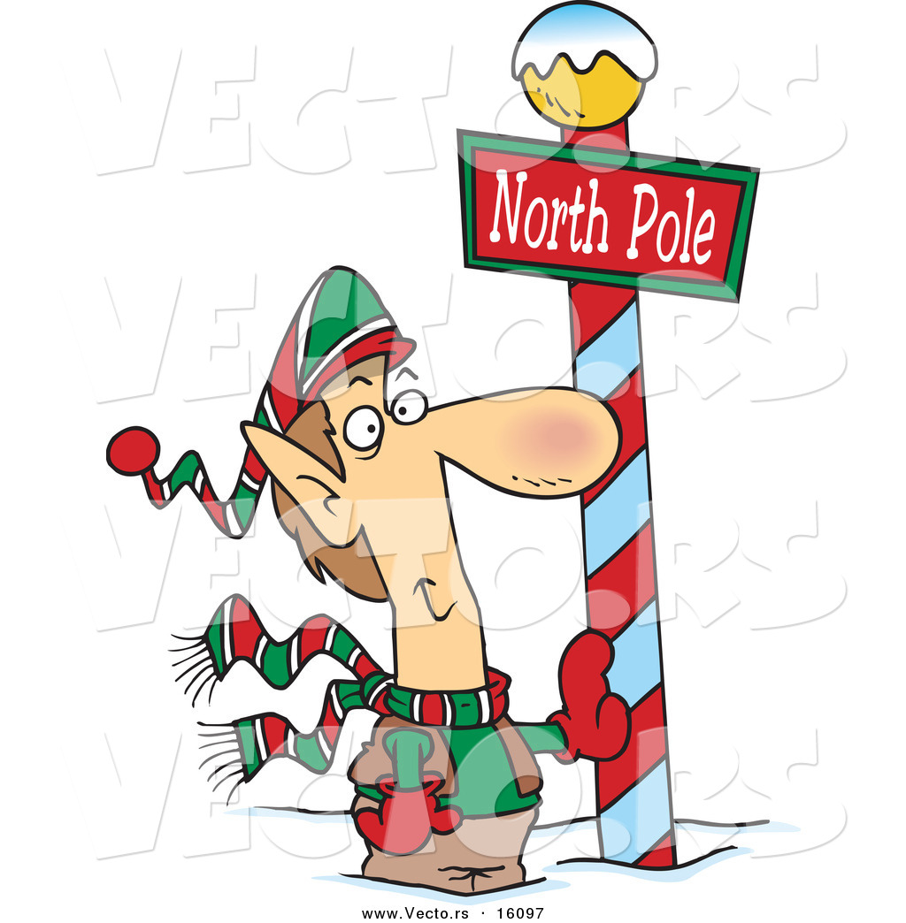 vector of a cartoon christmas elf leaning against a north pole