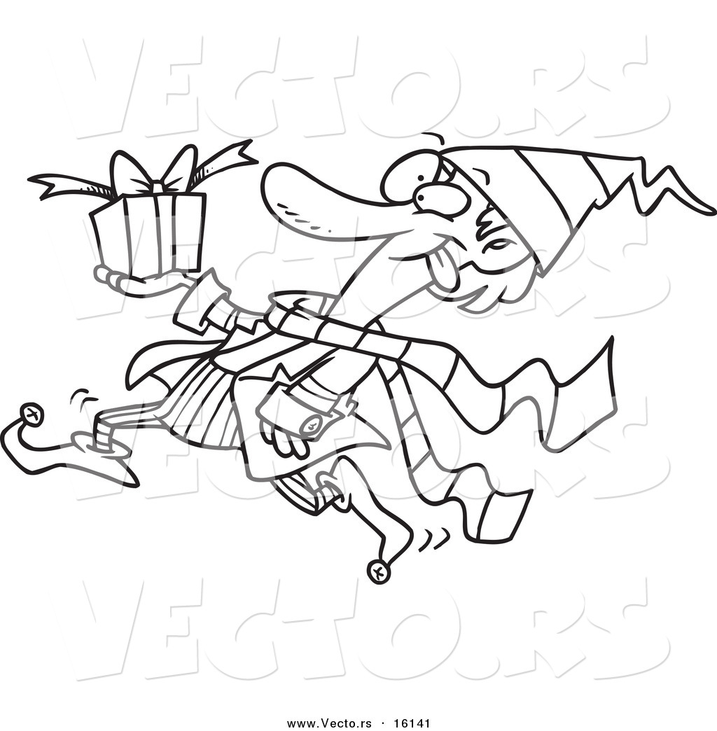 vector of a cartoon christmas elf running with a gift outlined