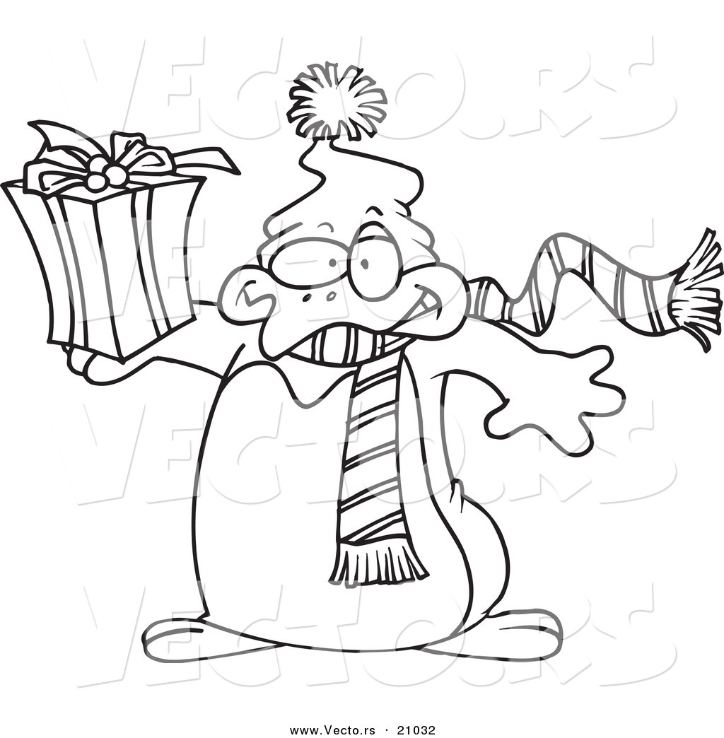 vector of a cartoon christmas penguin holding a gift coloring