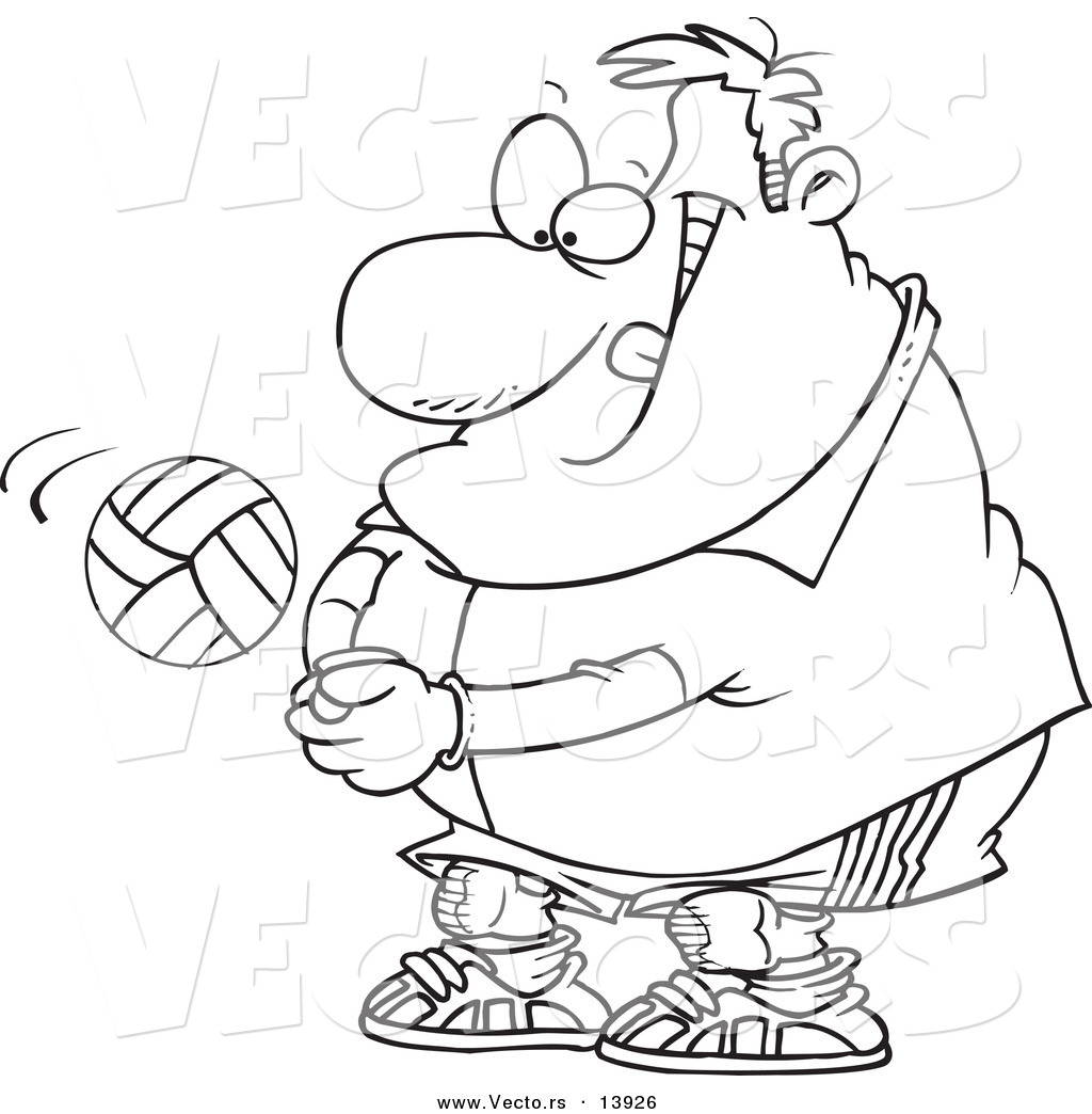Coloring pages volleyball - Vector Of A Cartoon Chubby Male Volleyball Player Hitting A Ball Coloring Page Outline