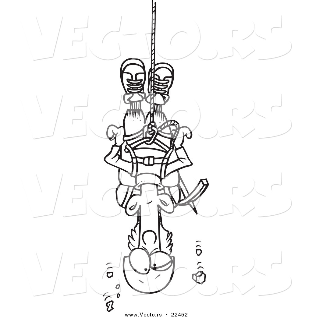 vector of a cartoon climber suspended from rope