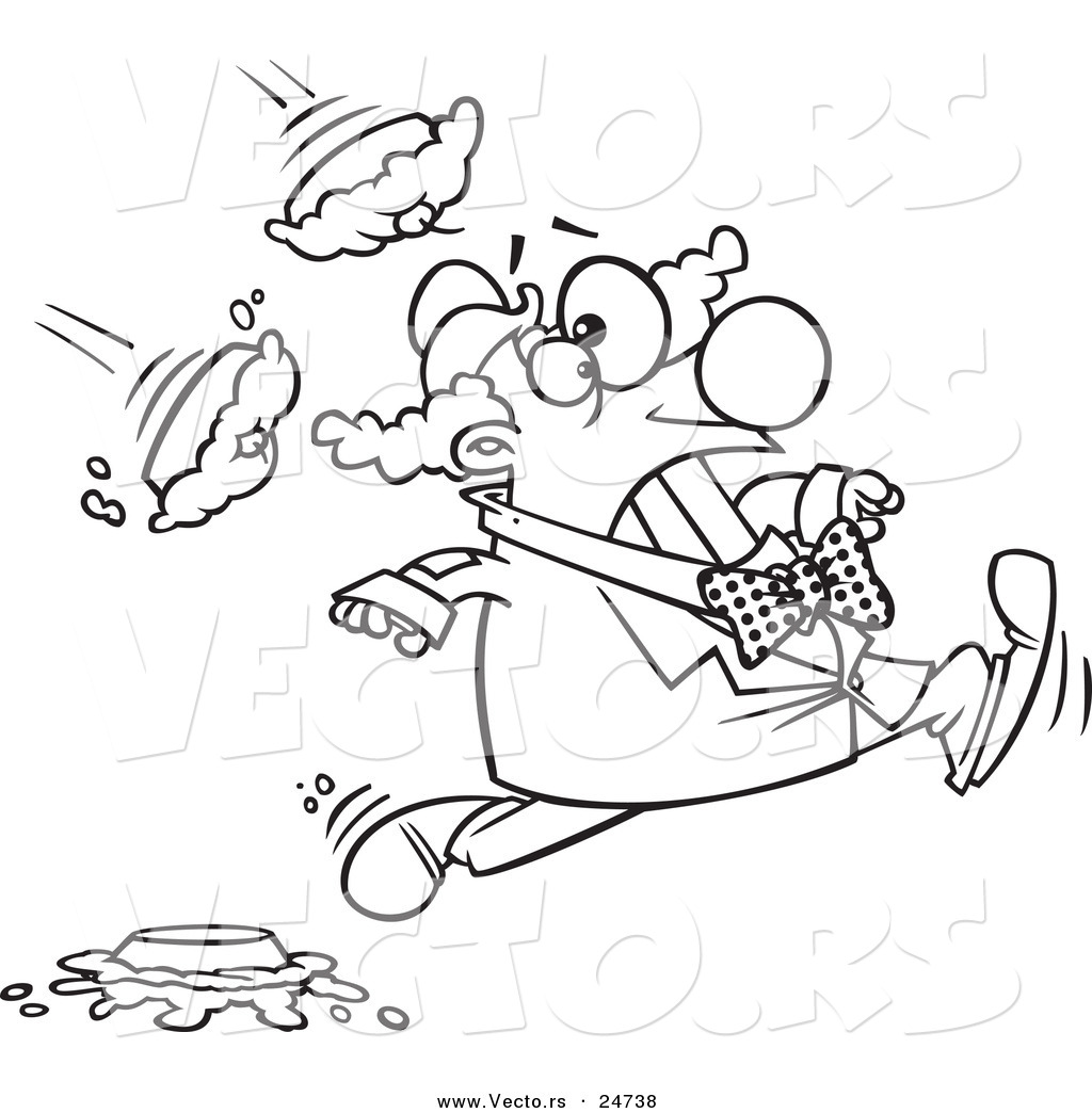 Vector of a Cartoon Clown Running from Pies - Outlined Coloring Page ...