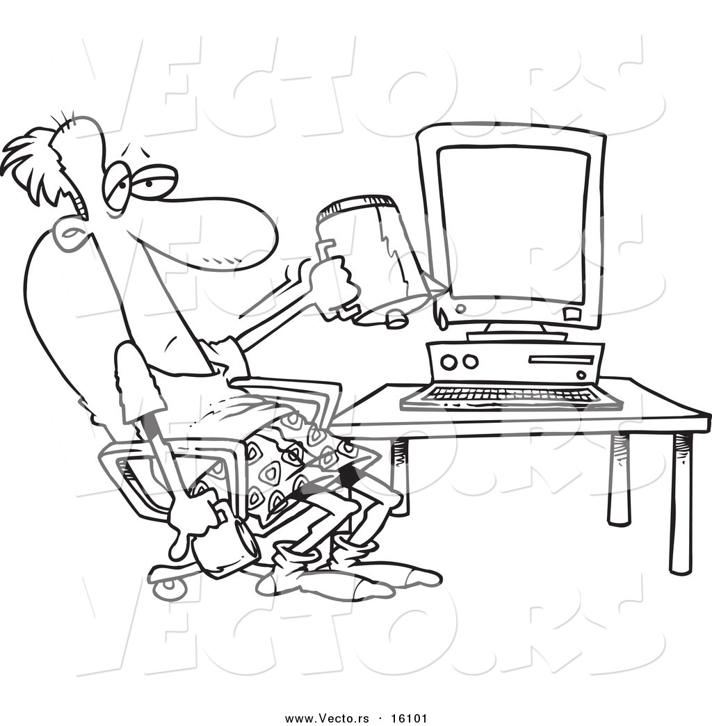 vector of a cartoon computer outlined coloring page drawing by
