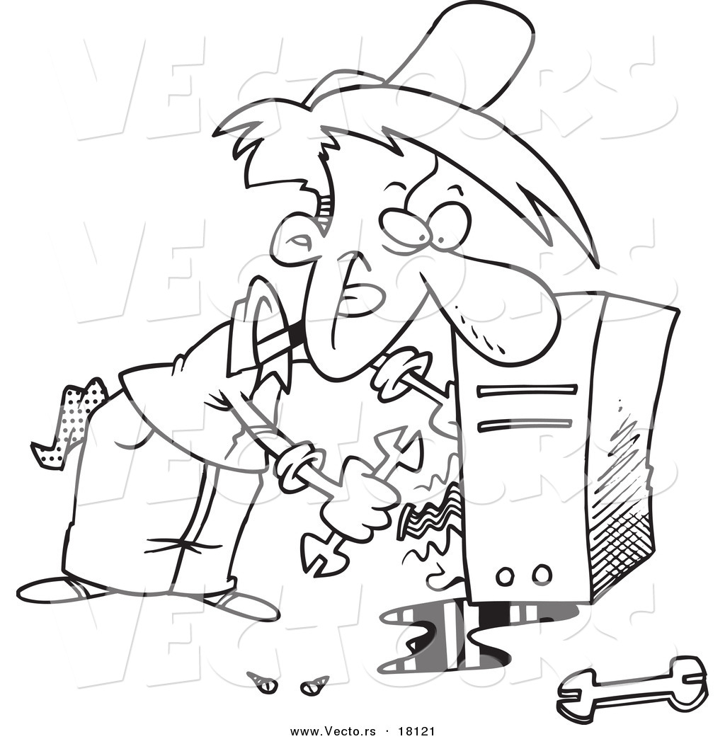 Drawing pages on computer - Vector Of A Cartoon Computer Repair Man Working On Wires Outlined Coloring Page