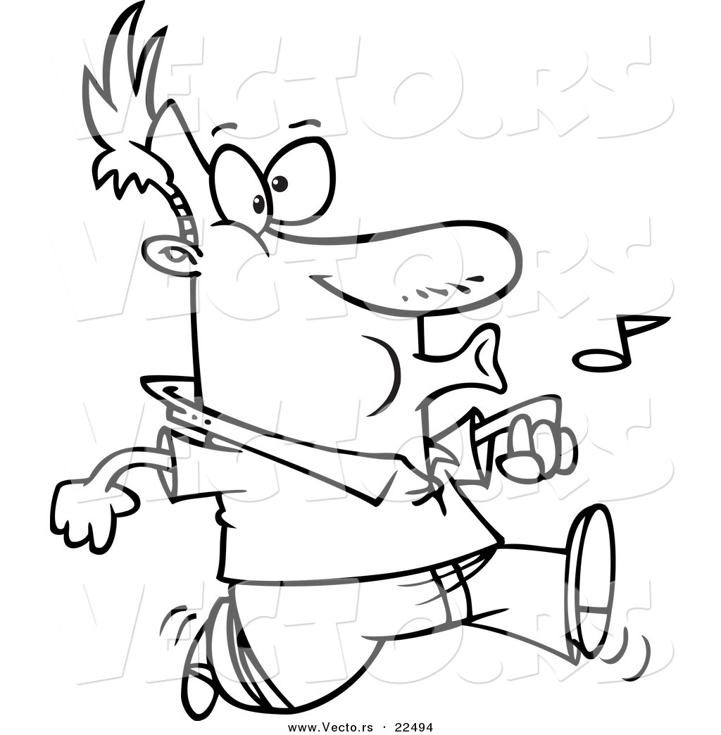 vector of a cartoon confident man whistling coloring page